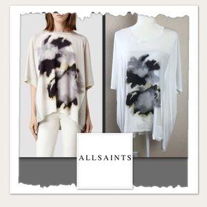 All Saints Aura Top Ivory & Grey Tunic